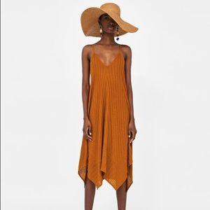 Zara asymmetrical dress in burnt orange size small